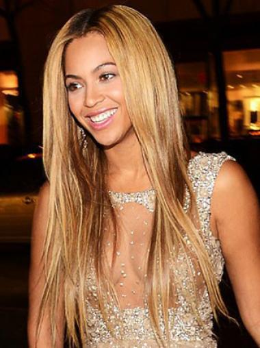 "Brown Long Straight Without Bangs Lace Front 22"" Beyonce Wigs"