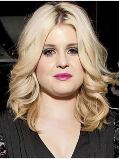 Blonde Soft Full Lace Shoulder Length Without Bangs Kelly Osbourne Wigs