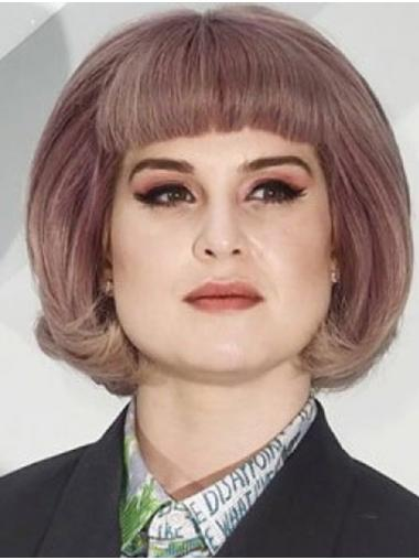 Purple Flexibility Capless Chin Length Bobs Kelly Osbourne Wigs