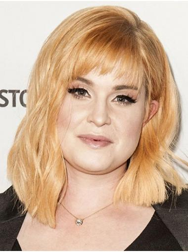 Blonde Modern Lace Front Shoulder Length With Bangs Kelly Osbourne Wigs