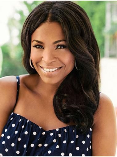 Brown Stylish Lace Front Shoulder Length Without Bangs Nia Long Wigs