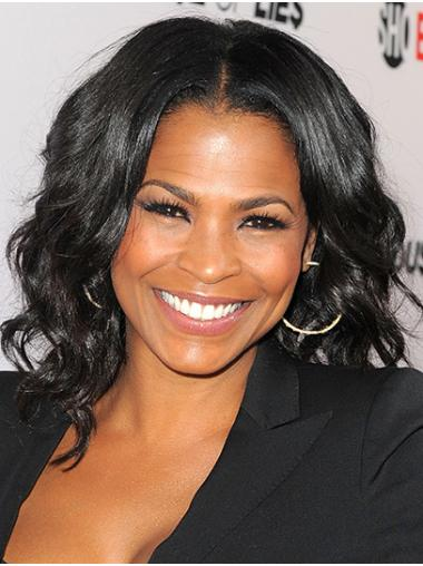 Black Perfect Lace Front Shoulder Length Without Bangs Nia Long Wigs