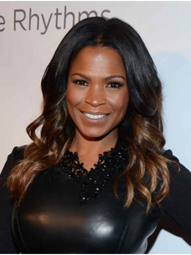 Black to Brown Stylish Lace Front Long Without Bangs Nia Long Wigs