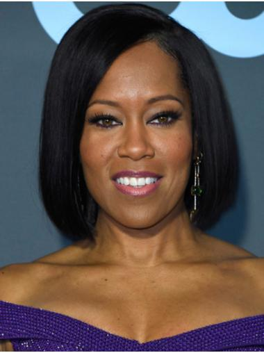 Black Comfortable Lace Front Chin Length Bobs Regina King Wigs
