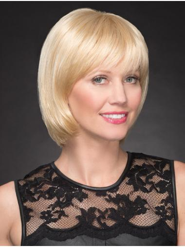 "10"" Chin Length Perfect Blonde Straight Bob Wigs"