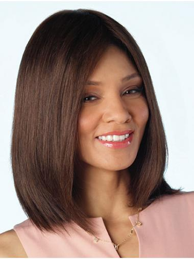 "Brown Shoulder Length 14"" Without Bangs Cheap Human Hair Wigs"