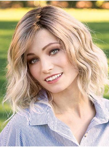 """Blonde 14"""" Layered Shoulder Length Online Monofilament Wigs"""