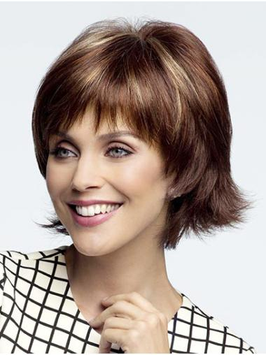 """Auburn 10"""" With Bangs Chin Length Hairstyles Monofilament Wigs"""