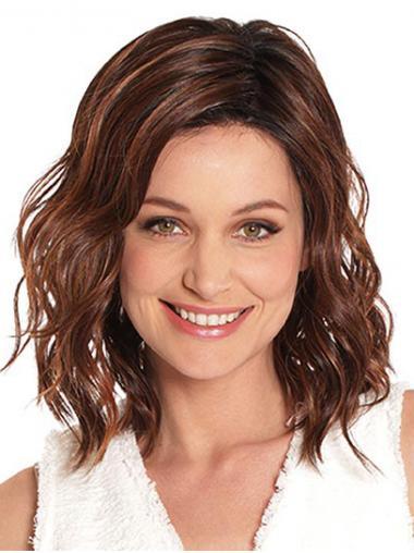 "Auburn 14"" Without Bangs Shoulder Length Top Monofilament Wigs"