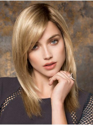 "Blonde 16"" With Bangs Long No-fuss Monofilament Wigs"
