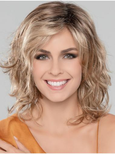 "Blonde 14"" Without Bangs Shoulder Length Ideal Monofilament Wigs"