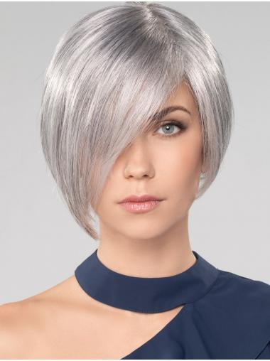 "Straight Chin Length 10"" Monofilament Convenient Grey Wigs"