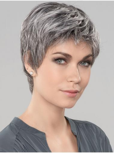 "Straight Short 6"" Monofilament Style Grey Wigs"