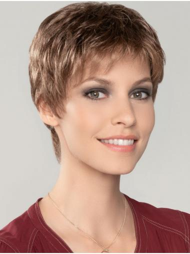 """Straight Cropped 4"""" Auburn 100% Hand-tied Wigs"""