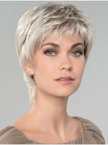 """Straight Short 8"""" Capless Affordable Grey Wigs"""