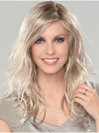 "Platinum Blonde 16"" Without Bangs Long Amazing Monofilament Wigs"