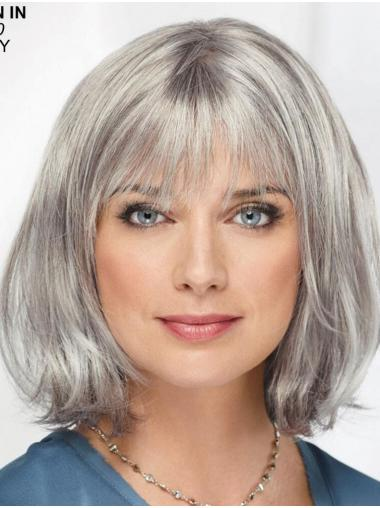 "Straight Chin Length 12"" Monofilament Sassy Grey Wigs"