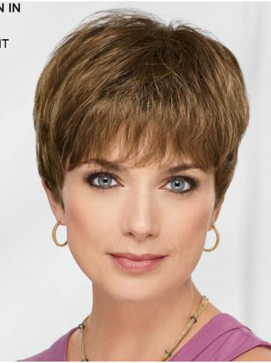 """Brown 8"""" Boycuts Flexibility Capless Synthetic Wigs"""
