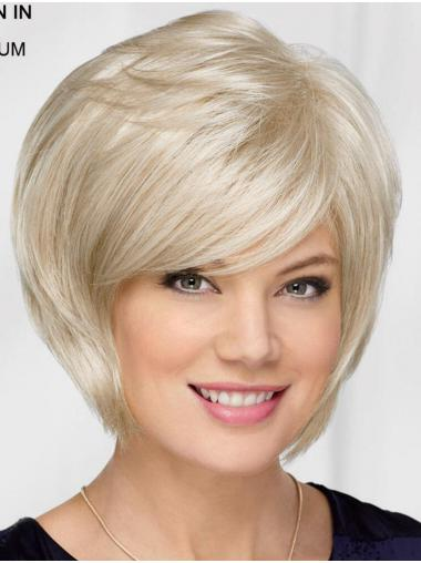 "10"" Chin Length Platinum Blonde Straight Top Bob Wigs"