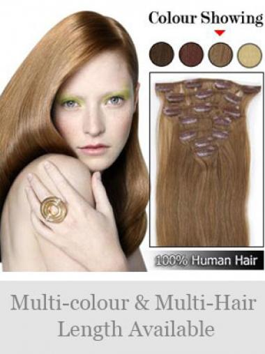 New Brown Straight Remy Human Hair Clip In Hair Extensions