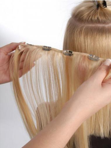 Hair Extension Clips Remy Straight Style Blonde Color