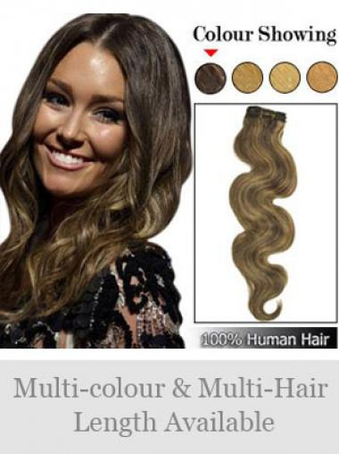 Weft Extensions With Remy Wavy Style Brown Color