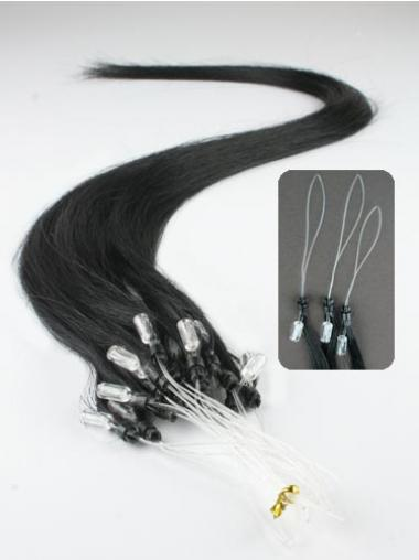 Fashionable Black Straight Micro Loop Ring Hair Extensions