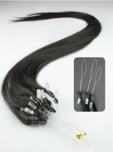Convenient Black Straight Micro Loop Ring Hair Extensions
