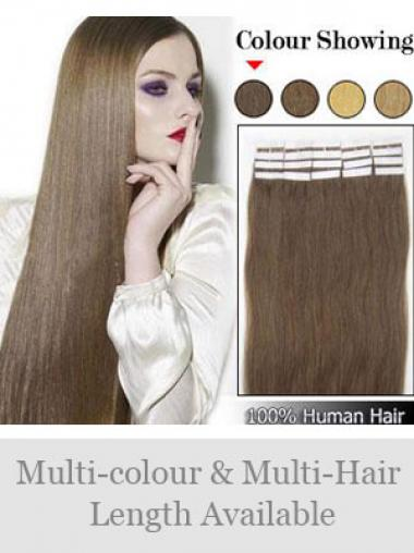 Brown Straight Convenient Remy Human Hair Tape In Hair Extensions