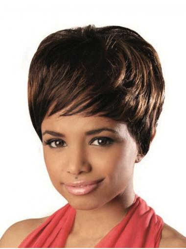Short Brown Wavy With Bangs Stylish African American Wigs