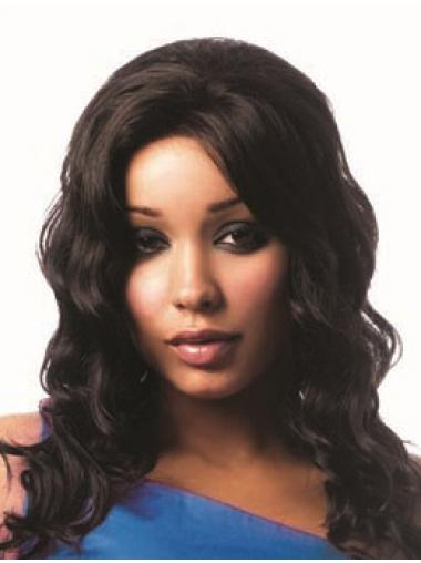 Long Black Wavy Without Bangs Comfortable African American Wigs