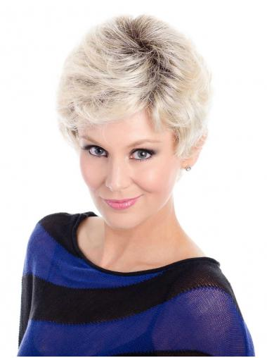 Synthetic Great Short Wavy Grey Wigs