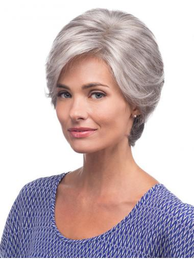 Cheap Lace Front Wigs UK Grey Cut Straight Style Short Length