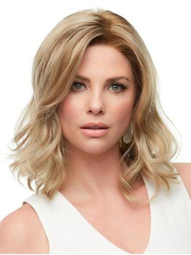 "Soft Layered Blonde Shoulder Length 12"" Medium Wigs"