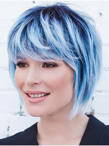 """Straight Blue Synthetic Natural 10"""" Bob Wigs"""
