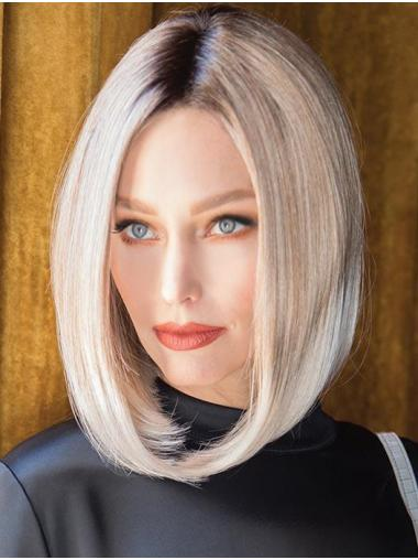 "Straight Platinum Blonde Synthetic Cheap 14"" Bob Wigs"