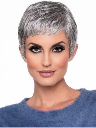 """Cropped 6"""" High Quality Straight Monofilament Grey Wigs"""
