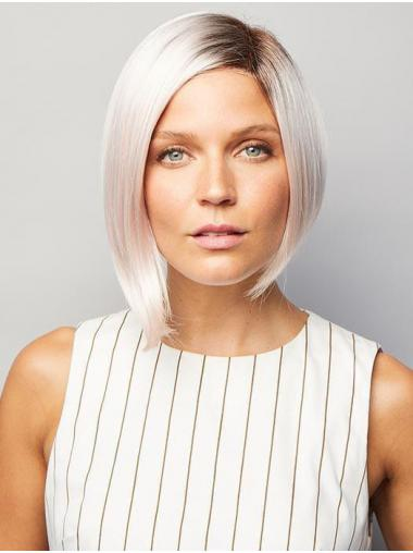 """Chin Length 10"""" Discount Straight Monofilament Grey Wigs"""