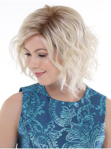 "Curly Platinum Blonde Synthetic Comfortable 10"" Bob Wigs"