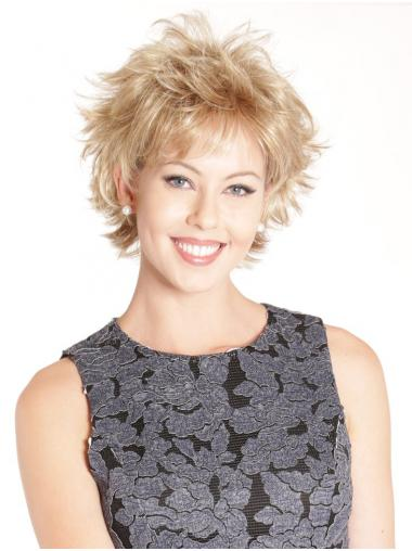 Blonde Synthetic Boycuts Great Cropped Lace Front Wigs
