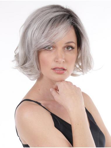 "Chin Length 10"" No-fuss Wavy Lace Front Grey Wigs"