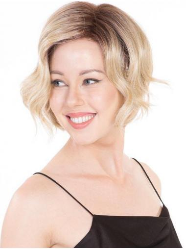 "Wavy Blonde Synthetic Fashionable 10"" Bob Wigs"