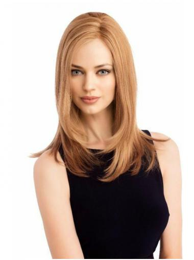 "Cheapest 16"" Long Blonde Without Bangs 100% Hand-tied Wigs"