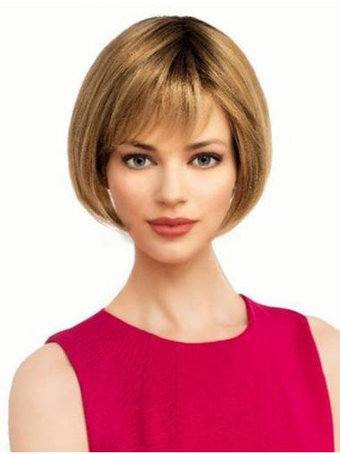 """Straight Blonde Synthetic Discount 6"""" Bob Wigs"""
