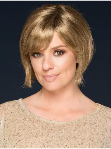 "Straight Blonde Synthetic Suitable 6"" Bob Wigs"