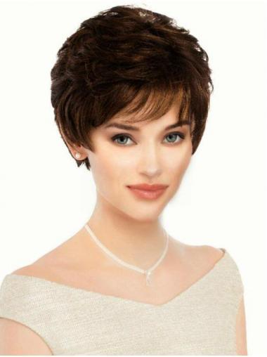 "Fashion Monofilament Boycuts Brown 6"" Short Wigs"