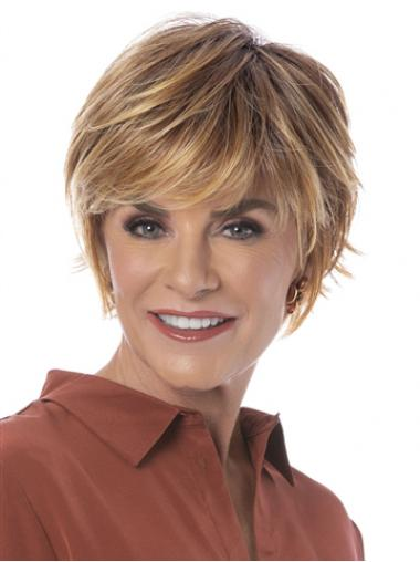 """Straight Blonde Synthetic Sassy 6"""" Bob Wigs"""