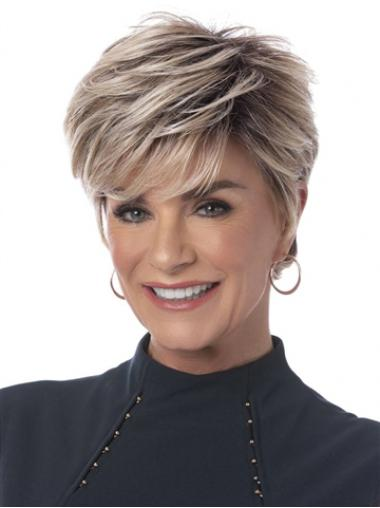 "Beautiful Capless Boycuts Grey With Blonde 6"" Short Wigs"