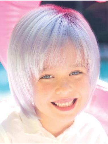 "Monofilament 8"" Straight Grey Top Kids Wigs"