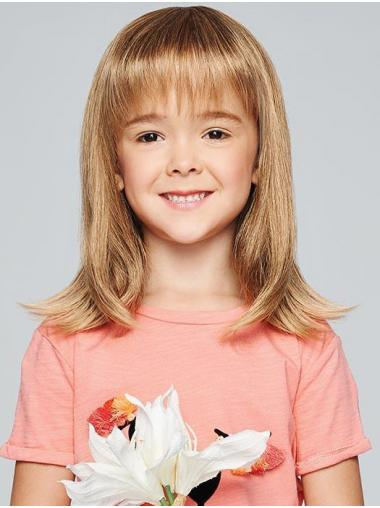 "Monofilament 14"" Straight Blonde Trendy Kids Wigs"